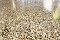 spotted polished concrete floor